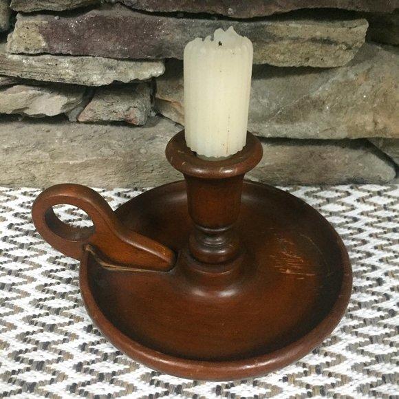 VTG Wood Chamberstick Candle Holder Boho